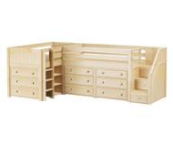 Maxtrix TANDEM Corner Low Loft Bed with Dressers Twin Size Natural | Maxtrix Furniture | MX-TANDEM1-NX