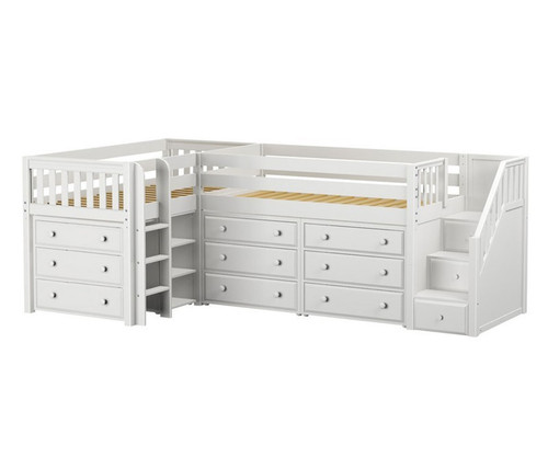 Maxtrix TANDEM Corner Low Loft Bed With Dressers Twin Size White