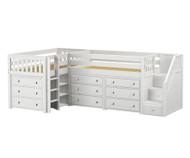 Maxtrix TANDEM Corner Low Loft Bed with Dressers Twin Size White | Maxtrix Furniture | MX-TANDEM1-WX