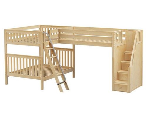 Maxtrix Triad Corner Loft Bunk Bed With Stairs Full Size Natural Furniture Mx