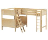 Maxtrix TRIPLET Corner Loft Bunk Bed Full Size Natural | Maxtrix Furniture | MX-TRIPLET-NX