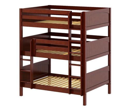 maxtrix triplex triple bunk bed full size chestnut maxtrix furniture mxtriplex