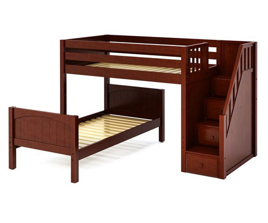 Maxtrix Wangle Twin Size L Shaped Bunk Bed With Stairs Matrix Kids