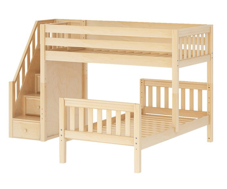 Twin Size L Shaped Bunk Bed With Stairs Maxtrix Wangle Bed Kids