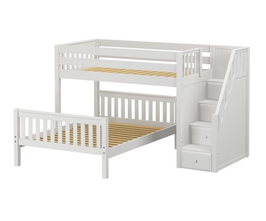 Maxtrix Wiggle Twin Over Full Bunk Bed With Stairs Matrix Kids