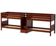 Maxtrix WONDERFUL Quadruple Low Bunk Bed with Stairs Twin Size Chestnut | Maxtrix Furniture | MX-WONDERFUL-CX