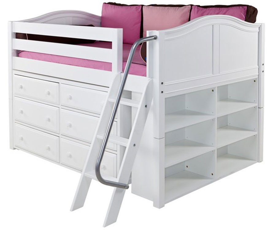 Maxtrix Xl1 Low Loft Bed With Dresser And Bookcase