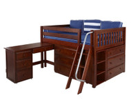 Maxtrix XL Low Loft Bed w/ Dressers & Desk Full Size Chestnut | Maxtrix Furniture | MX-XL4L-CX
