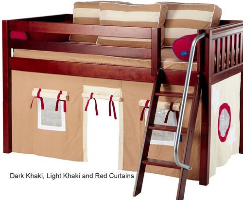 Bunk Bed Curtains Dk. Khaki, Lt. Khaki & Red | Maxtrix | MX3220 - Maxtrix Bunk Bed Tents For Kids Dark Khaki, Light Khaki And Red