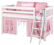 Maxtrix Low Loft Bed White with Angled Ladder and Curtains 1 | Maxtrix Furniture | MXEASYRIDER23W