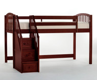 School House Junior Low Loft Bed with Stairs Cherry | NE Kids | NE-4060-Stairs