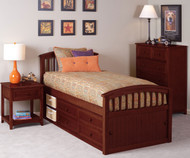 School House Twin Size Captains Bed Cherry | NE Kids | NE-4070