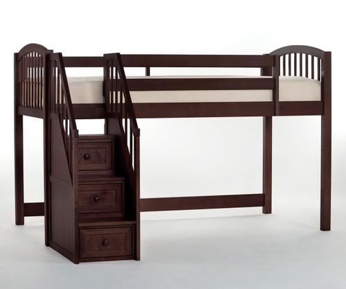 School House Junior Low Loft Bed with Stairs Chocolate | NE Kids | NE-5060-Stairs