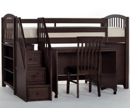 School House Junior Store and Study Low Loft Bed with Stairs Chocolate | NE Kids | NE-5060STDY-STAIR