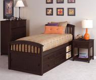 School House Twin Size Captains Bed Chocolate | NE Kids | NE-5070