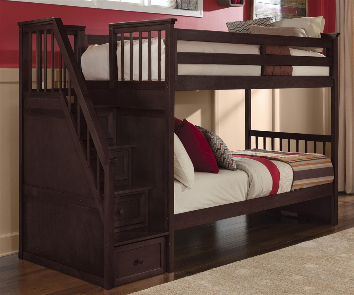 School House Staircase Bunk Bed In A Chocolate Ne Kids