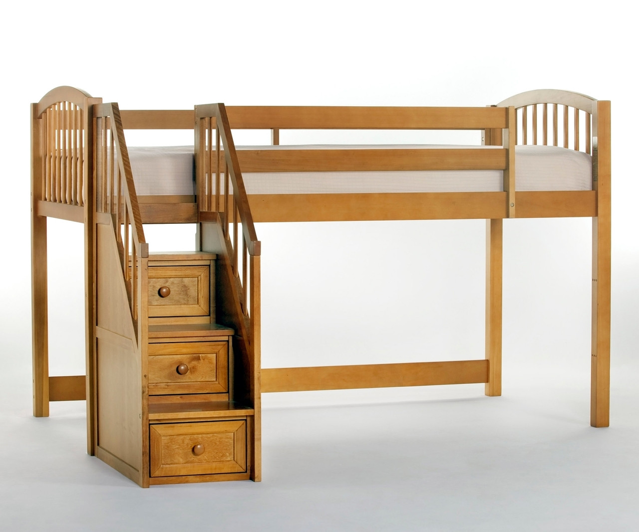 School House Pecan Finish Junior Low Loft Bed With Stairs