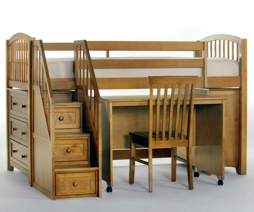 School House Junior Store And Study Low Loft Bed With Stairs Pecan