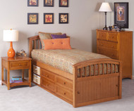 School House Twin Size Captains Bed Pecan | NE Kids | NE-6070