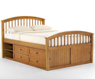 School House Full Size Captains Bed Pecan | NE Kids | NE-6075