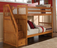 CLEARANCE School House Staircase Bunk Bed Pecan | NE Kids | NE-6090BUNK-SD