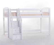 School House Junior Low Loft Bed with Stairs White | NE Kids | NE-7060-Stairs