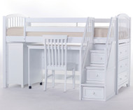 School House Junior Store and Study Low Loft Bed with Stairs White | NE Kids | NE-7060STDY-STAIR