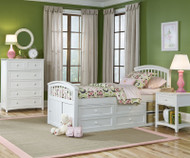 School House Twin Size Captains Bed White | NE Kids | NE-7070