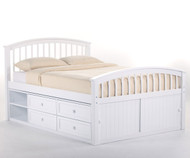 School House Full Size Captains Bed White | NE Kids | NE-7075