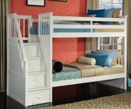 School House Staircase Bunk Bed White | NE Kids | NE-7090BUNK