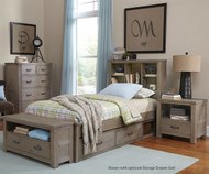 Everglades Bookcase Bed Twin Size Driftwood | NE Kids Furniture | NE10060