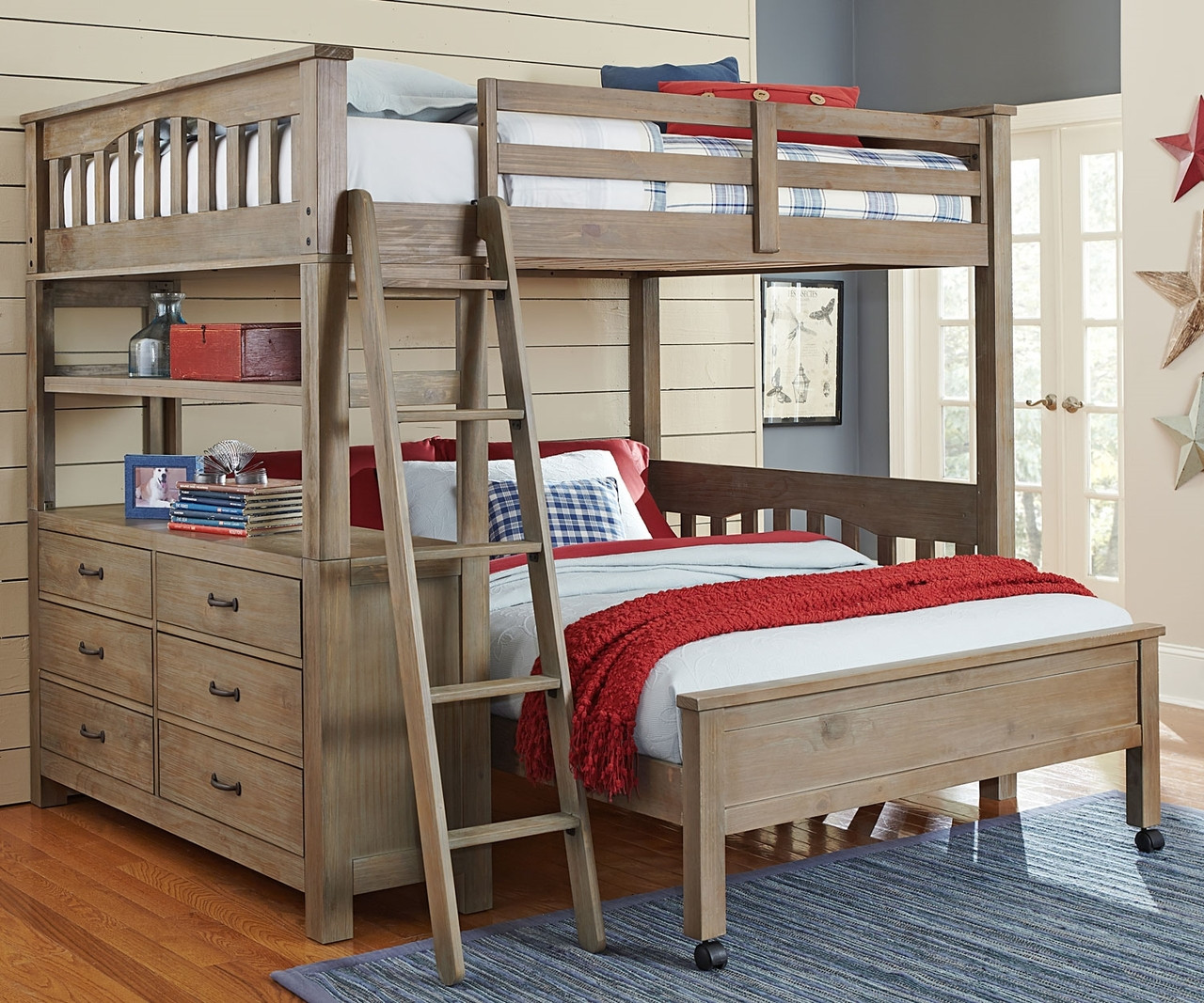 10080 Full Size Loft Bed with full size lower bed | Everglades ...