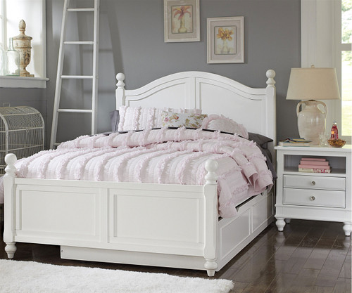 1015 And 1570 Payton Full Bed White Finish With Trundle