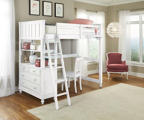 Charming Lakehouse Loft Bed Twin White | NE Kids | NE1040