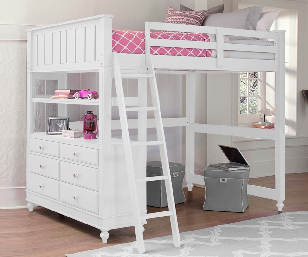 1045 Full Size Loft Bed Lakehouse Collection White Finish Ne