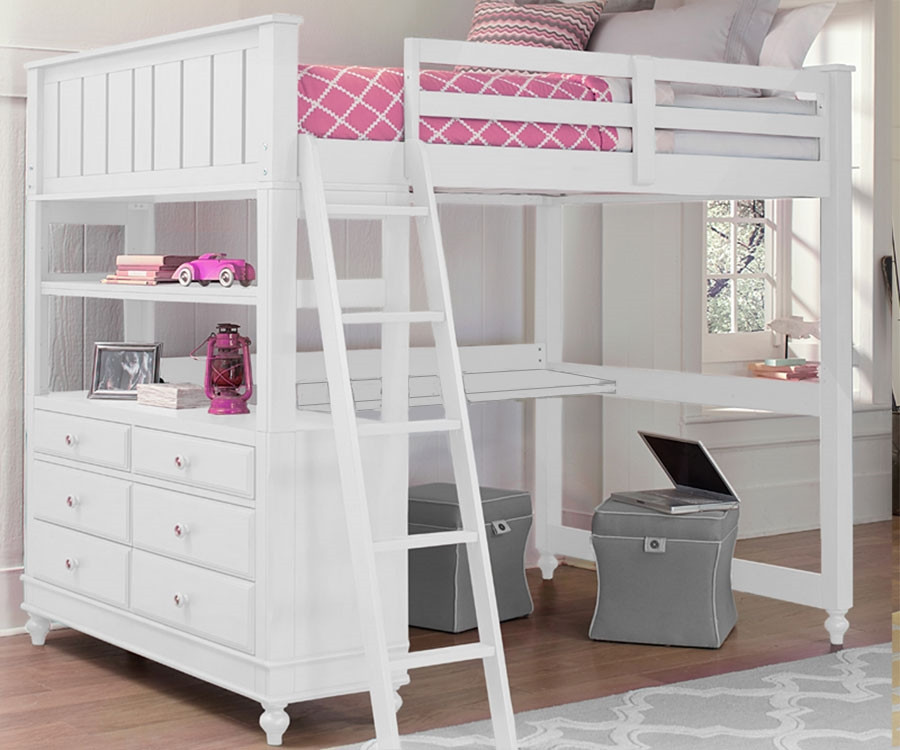 1045 Full Size Loft Bed With Desk White Lakehouse