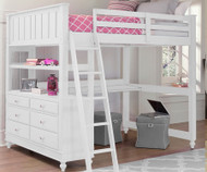 Lakehouse Loft Bed with Desk Full Size White | NE Kids | NE1045-Desk