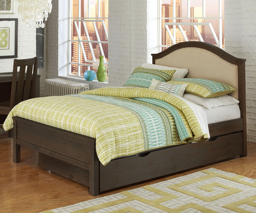 Everglades Bailey Upholstered Bed Full Size with Trundle Espresso | NE Kids Furniture | NE11015X