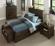 Everglades Alex Panel Bed Full Size with Trundle Espresso | NE Kids Furniture | NE11025X