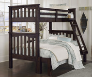 Everglades Harper Twin over Full Size Bunk Bed Espresso | NE Kids Furniture | NE11055