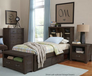 Everglades Bookcase Bed Twin Size Espresso | NE Kids Furniture | NE11060