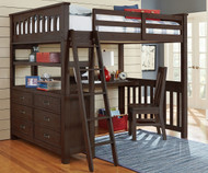 Everglades Loft Bed with Desk Full Size Espresso | NE Kids Furniture | NE11080-Desk