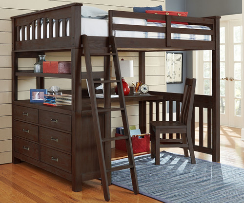 11080 Full Size Loft Bed With Desk In Espresso Finish