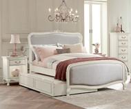 Kensington Katherine Upholstered Bed Full Size with Trundle Antique White | NE Kids Furniture | NE20025-20580