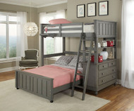 Lakehouse Loft Bed with Full Size Lower Bed Stone | NE Kids | NE2040-LWB