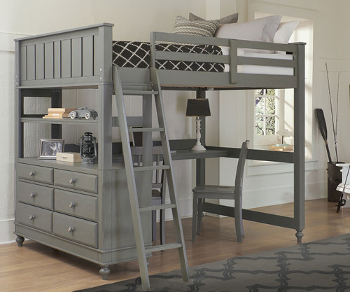 Lakehouse Loft Bed With Desk Full Size Stone | NE Kids | NE2045 Desk