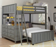 Lakehouse Loft Bed Full Size with Full Size Lower Bed Stone | NE Kids | NE2045-LWB