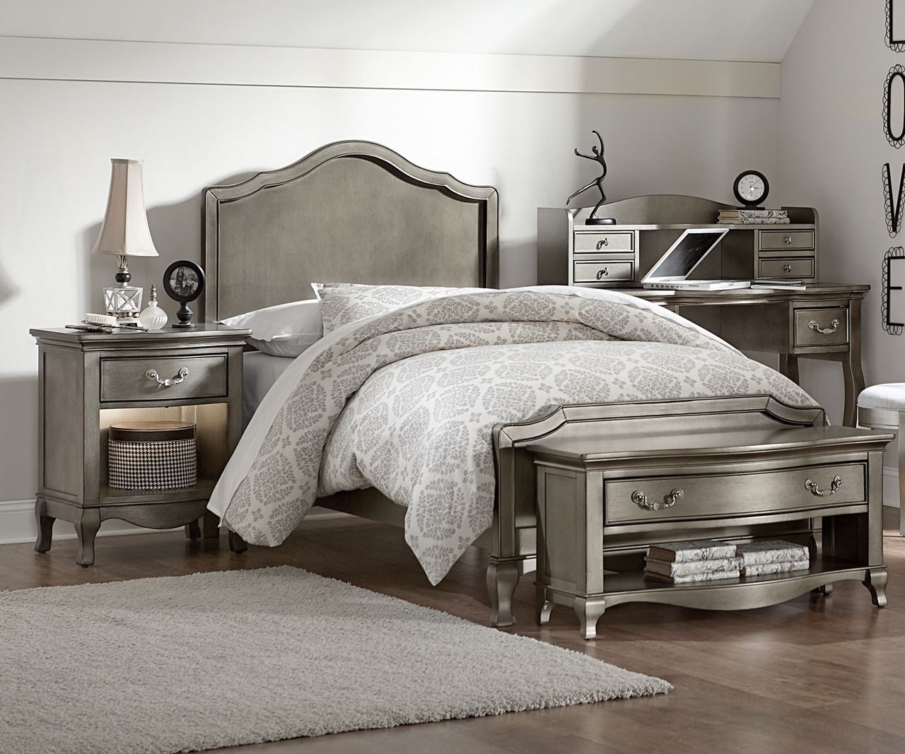 Kensington Silver Finish Charlotte Twin Size Panel Bed 30010 Ne Kids Furniture Kids And