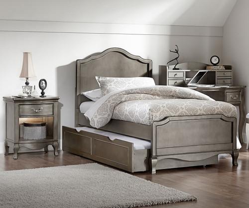 Kensington Charlotte Panel Bed Twin Size With Trundle Antique Silver | NE Kids  Furniture | NE30010