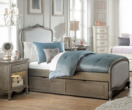 Kensington Katherine Upholstered Bed Twin Size with Trundle Antique Silver | NE Kids Furniture | NE30020-30580